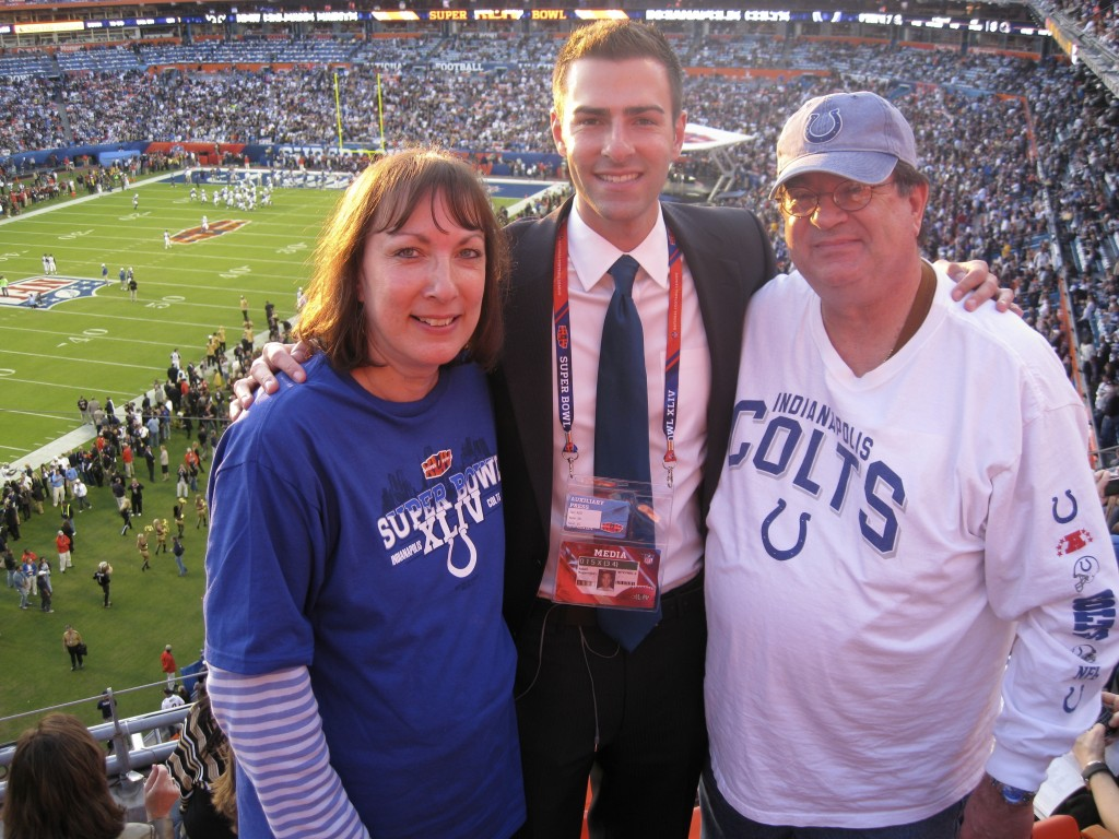 This February 2010 family photo shows Isaiah Kuperstein, right, with his son, Adam, and wife, Elana, at a Super Bowl football game in Miami Gardens, F...