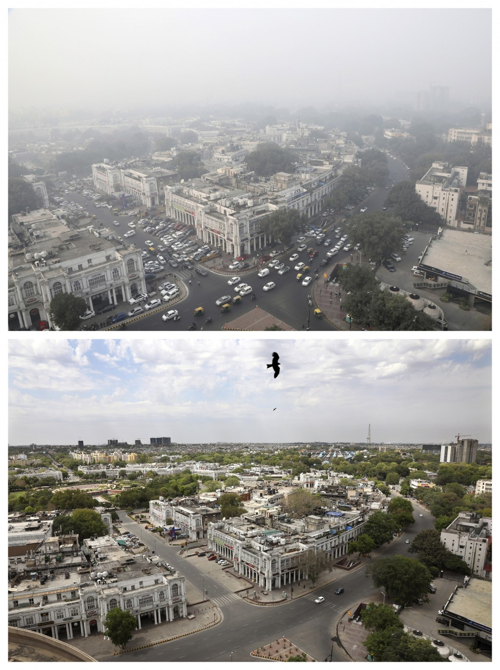 This combination of Friday, Nov. 1, 2019, top, and Monday, April 20, 2020 photos shows New Delhi's skyline. India's air quality improved drastically d...