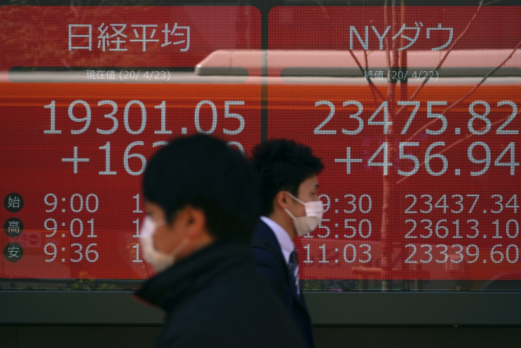 People wearing masks against the spread of the new coronavirus walk past an electronic stock board showing Japan's Nikkei 225 index at a securities fi...