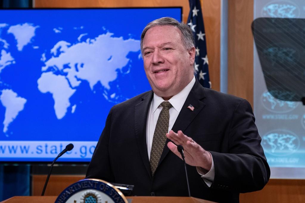 美國國務卿邁克•蓬佩奧22日在記者會上做簡報(美聯社圖片)