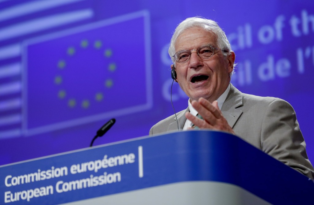 European Union foreign policy chief Josep Borrell addresses a video press conference at the conclusion of a video conference of EU foreign affairs min...