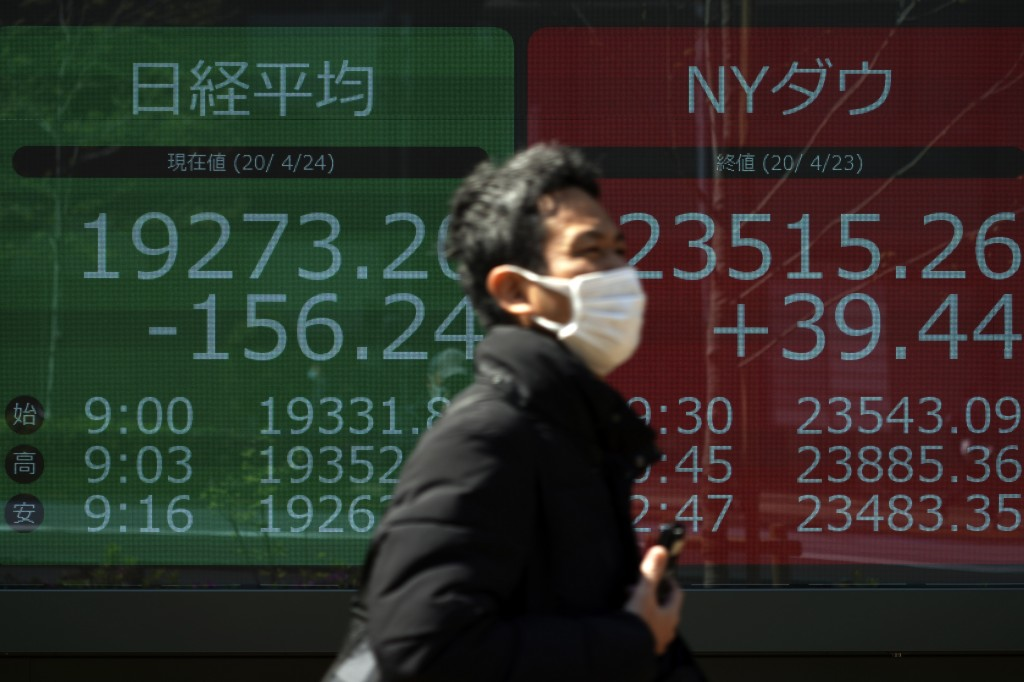 A man wearing a mask to help stop the spread of the new coronavirus walks past an electronic stock board showing Japan's Nikkei 225 and New York Dow i...