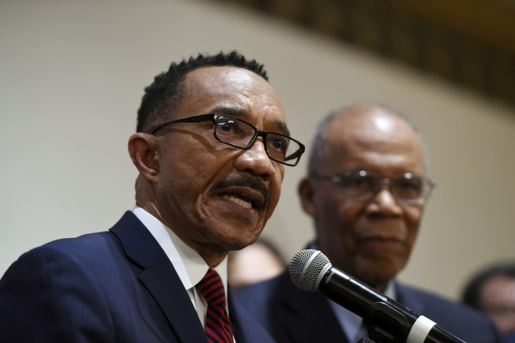FILE - In this Feb. 4, 2020 file photo, Kweisi Mfume, Democratic nominee for Maryland's 7th Congressional District, speaks at a victory party  in Balt...