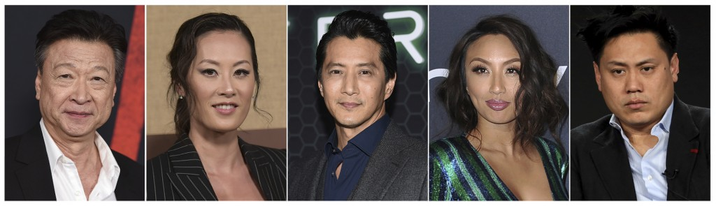This combination photo shows Asian American actors, from left, Tzi Ma, Olivia Cheng, Will Yun Lee, Jeannie Mai and Jon M. Chu. As people across the wo...