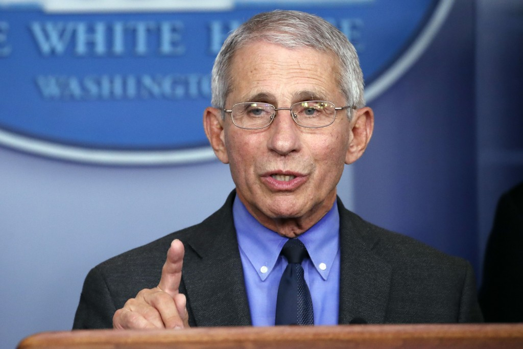 FILE - In this April 7, 2020, file photo, Dr. Anthony Fauci, director of the National Institute of Allergy and Infectious Diseases, speaks about the c...