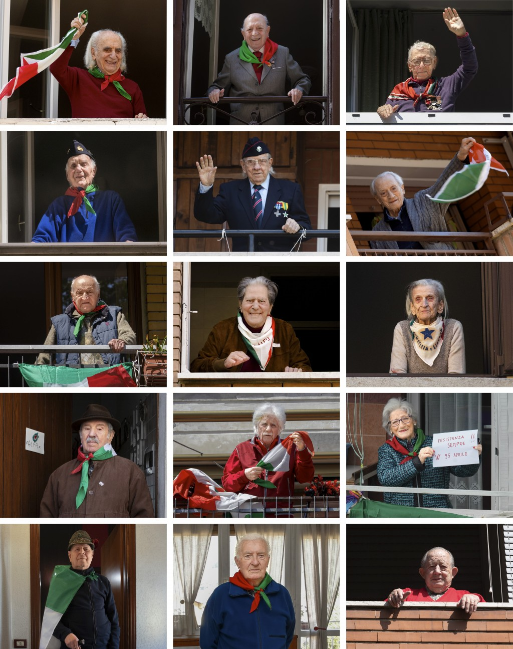 A combo of 15 images showing fifteen former Italian partisans posing at their home in several Italian cities between Thursday, April 23, and Friday, A...