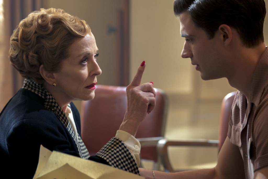"""This image released by Netflix shows Holland Taylor, left, and David Corenswet in a scene from """"Hollywood."""" (Saeed Adyani/Netflix via AP)"""