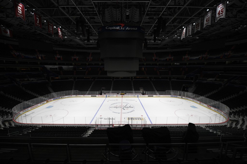 FILE - This is a March 12, 2020, file photo showing Capital One Arena, home of the Washington Capitals NHL hockey club in Washington. Get used to the ...