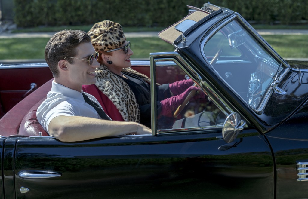 """This image released by Netflix shows David Corenswet, left, and Patti LuPone in a scene from """"Hollywood"""" premiering May 1 on Netflix. (Saeed Adyani/Ne..."""