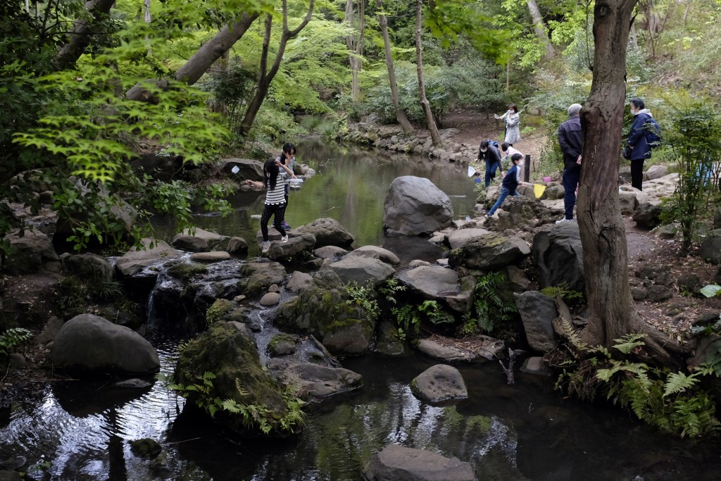 In this April 22, 2020, photo, despite the government request to stay home, people visit Arisugawa Park in Tokyo. Under Japan's coronavirus state of e...