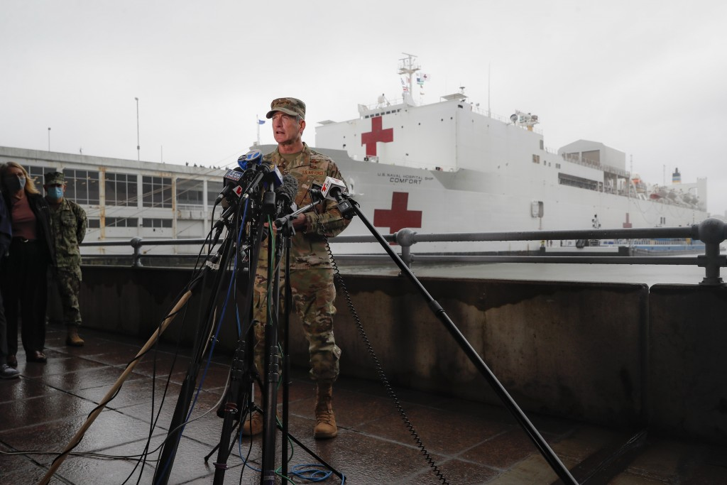 United States Air Force General Terrence O'Shaughnessy, commander of the United States Northern Command, speaks to reporters before the departure of t...