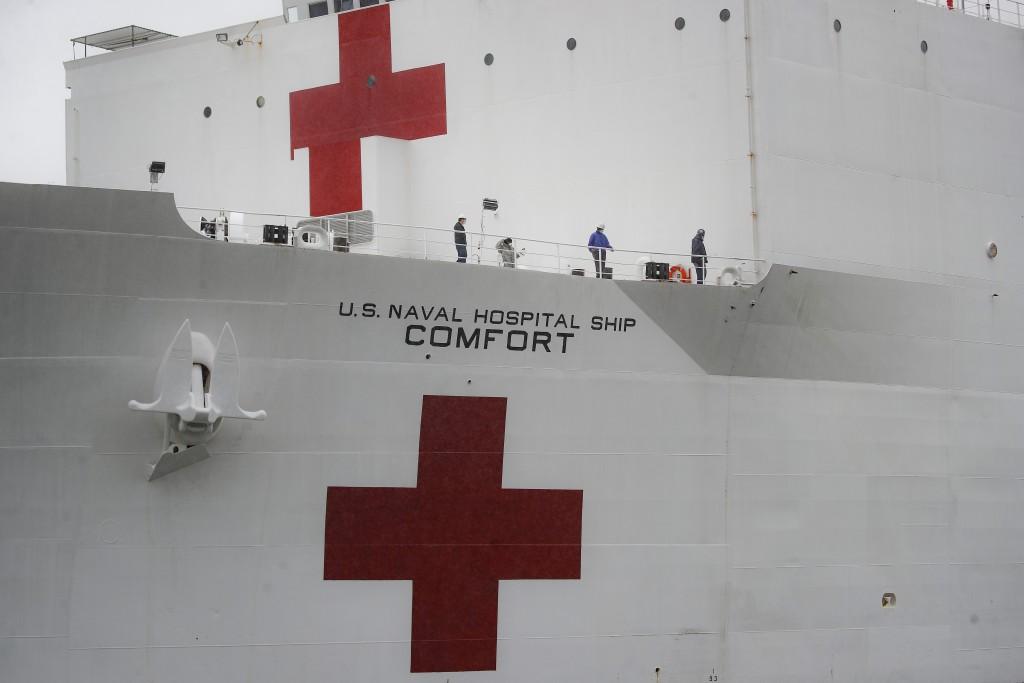 The USNS Naval Hospital Ship Comfort is prepared to depart via the Husdon River, Thursday, April 30, 2020, in the Manhattan borough of New York. (AP P...