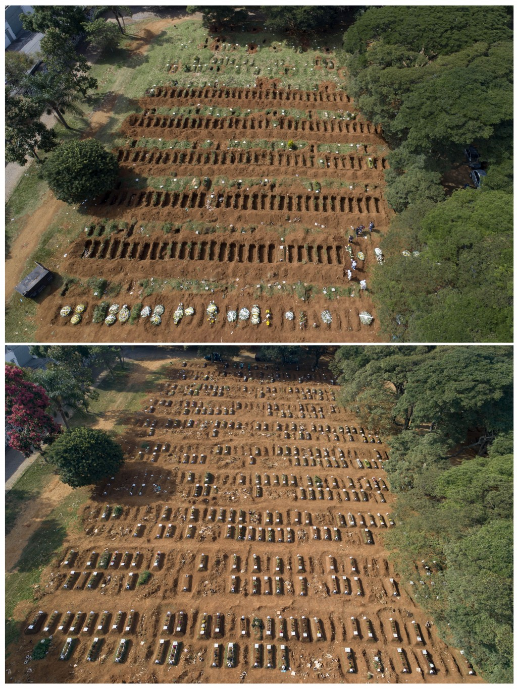 This combo shows freshly dug graves, top, on April 1, 2020 at the Vila Formosa cemetery in Sao Paulo, Brazil, compared to one month later on April 30 ...