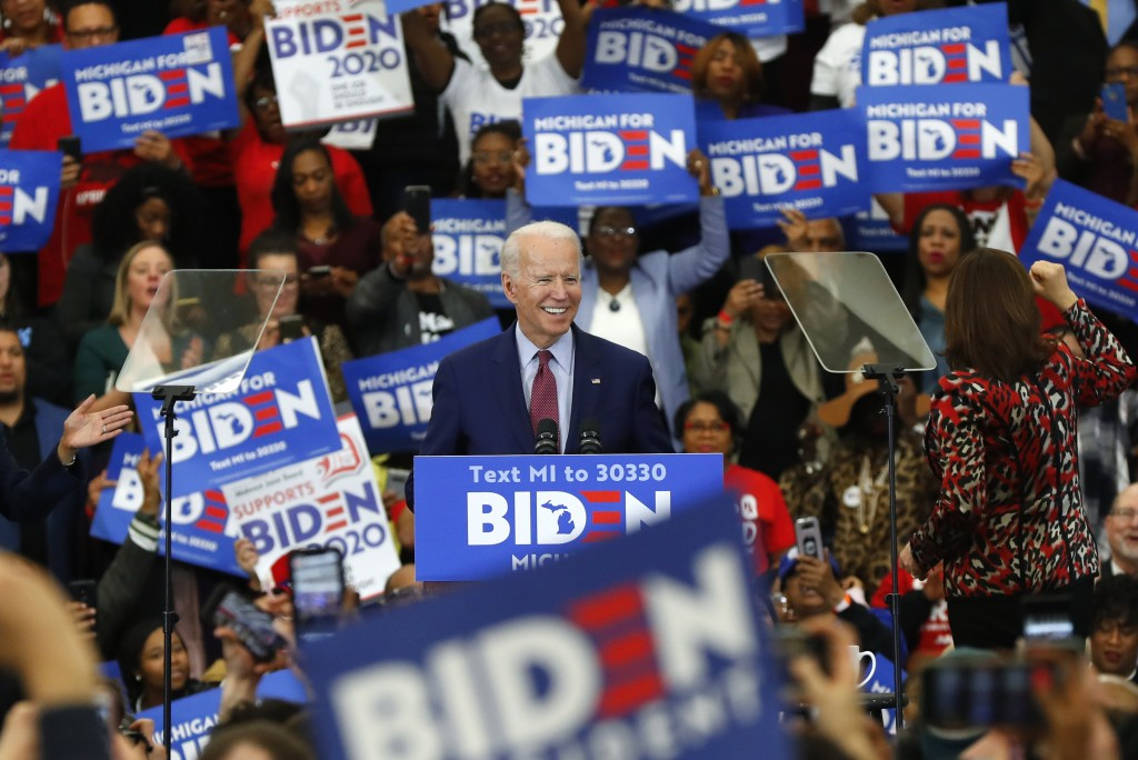FILE - In this March 9, 2020, file photo Democratic presidential candidate former Vice President Joe Biden speaks during a campaign rally at Renaissan...