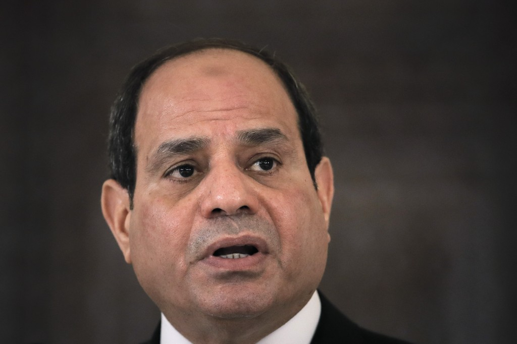 FILE - In this June 19, 2019 file photo, Egyptian President Abdel Fattah el-Sisi speaks during a press conference in Bucharest, Romania. Amnesty Inter...