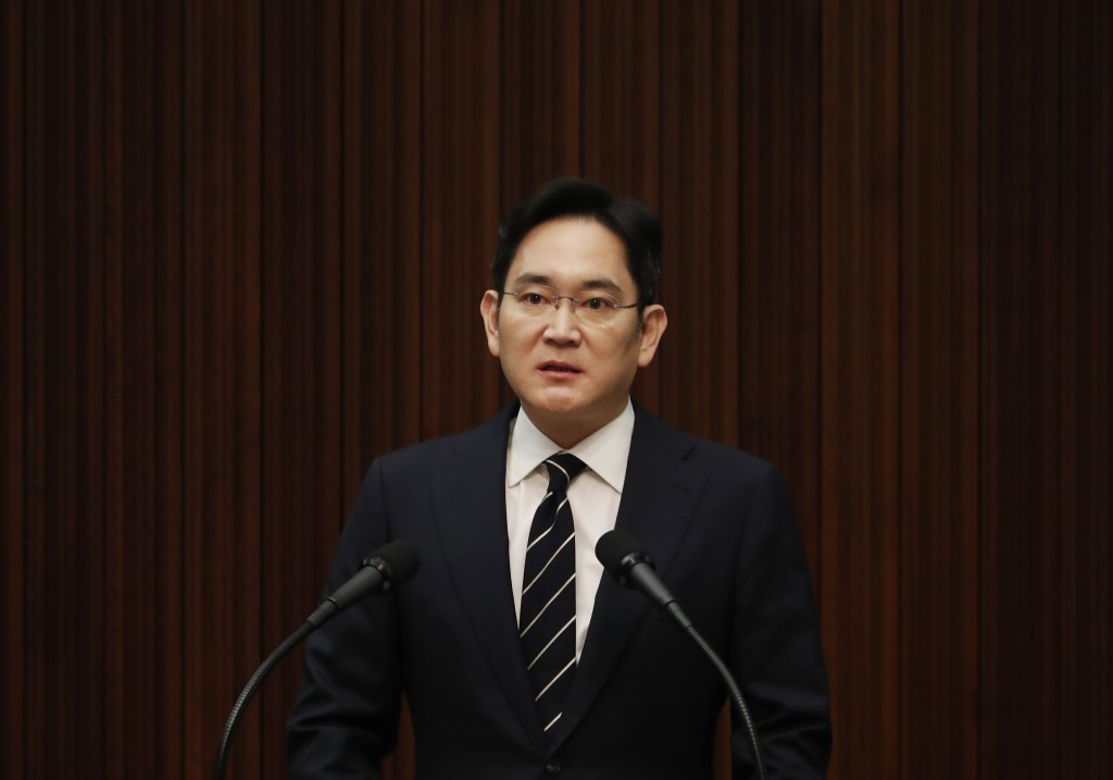 Samsung Electronics Vice Chairman Lee Jae-yong speaks during a news conference at a company's office building in Seoul, South Korea, Wednesday, May 6,...