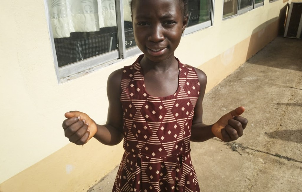 In this photo taken Thursday, Feb. 20, 2020, Joselia Kollie, who is the daughter of a popular gospel singer, explains how she desires to spread develo...