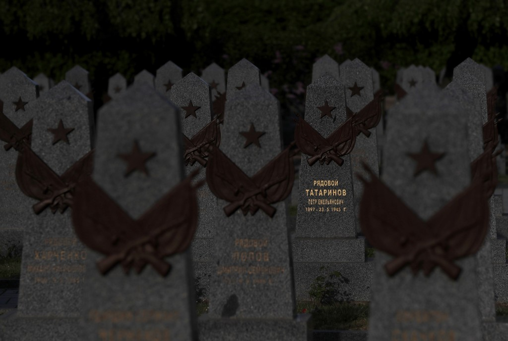 In this photo taken on Wednesday, May 6, 2020, a view of tombstones at the Soviet World War II memorial in Prague, Czech Republic. Relations between t...