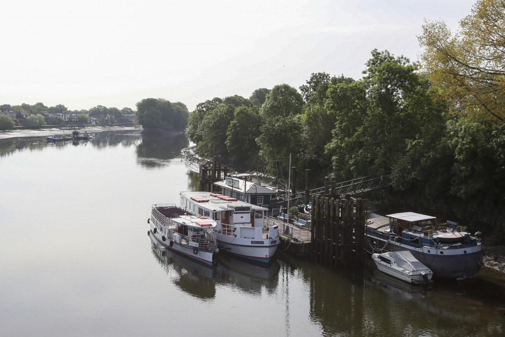 The Princess Freda is moored on the river Thames near Kew Bridge in London,  Friday, May 8, 2020. Danny Collier and his brother  John are the proud ow...