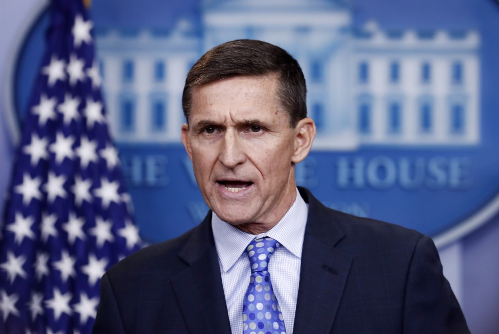 FILE - In this Feb. 1, 2017 file photo, then National Security Adviser Michael Flynn speaks during the daily news briefing at the White House, in Wash...