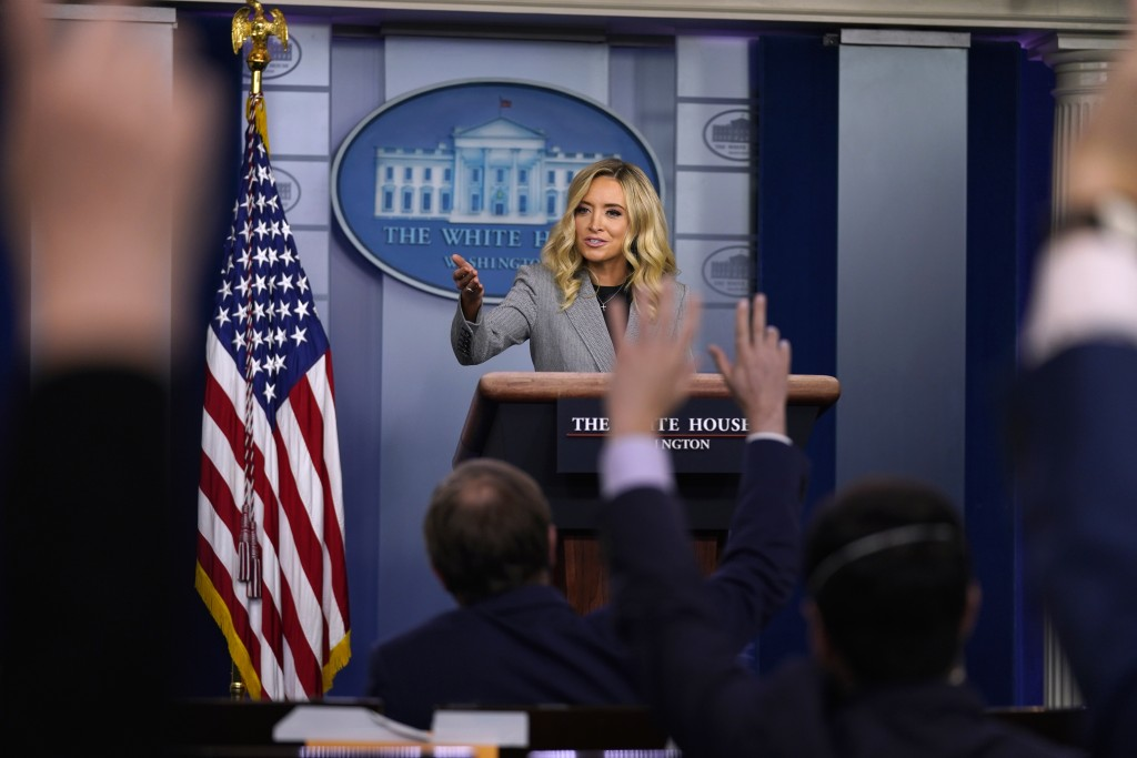 White House press secretary Kayleigh McEnany speaks during a press briefing at the White House, Friday, May 8, 2020, in Washington. (AP Photo/Evan Vuc...