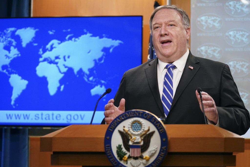 Secretary of State Mike Pompeo speaks about the coronavirus during news conference at the State Department in Washington on Wednesday, May 6, 2020. (K...