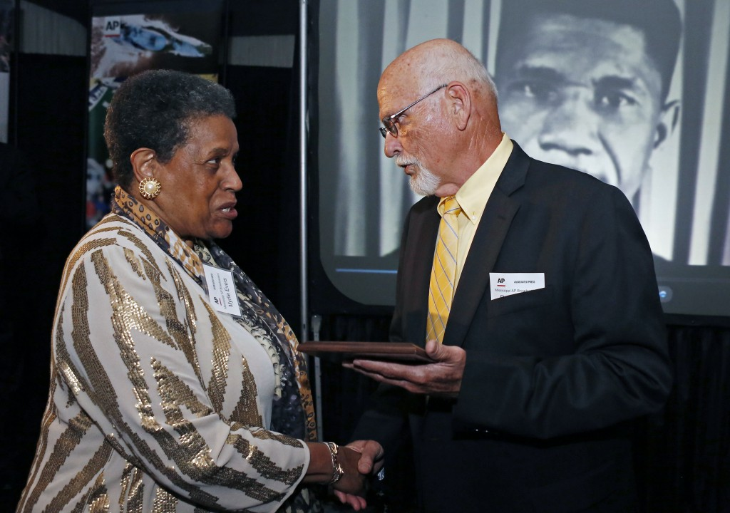 FILE - In this April 26, 2014 file photo, Myrlie Evers-Williams, widow of the murdered Mississippi civil rights leader Medgar Evers, receives the 2014...