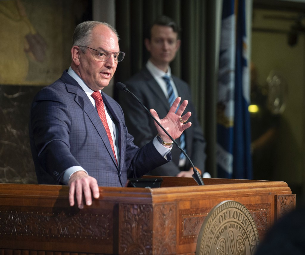 Gov. John Bel Edwards speaks Monday, May 11, 2020, at his media briefing on the state's COVID-19 response at the State Capitol in Baton Rouge, La., an...