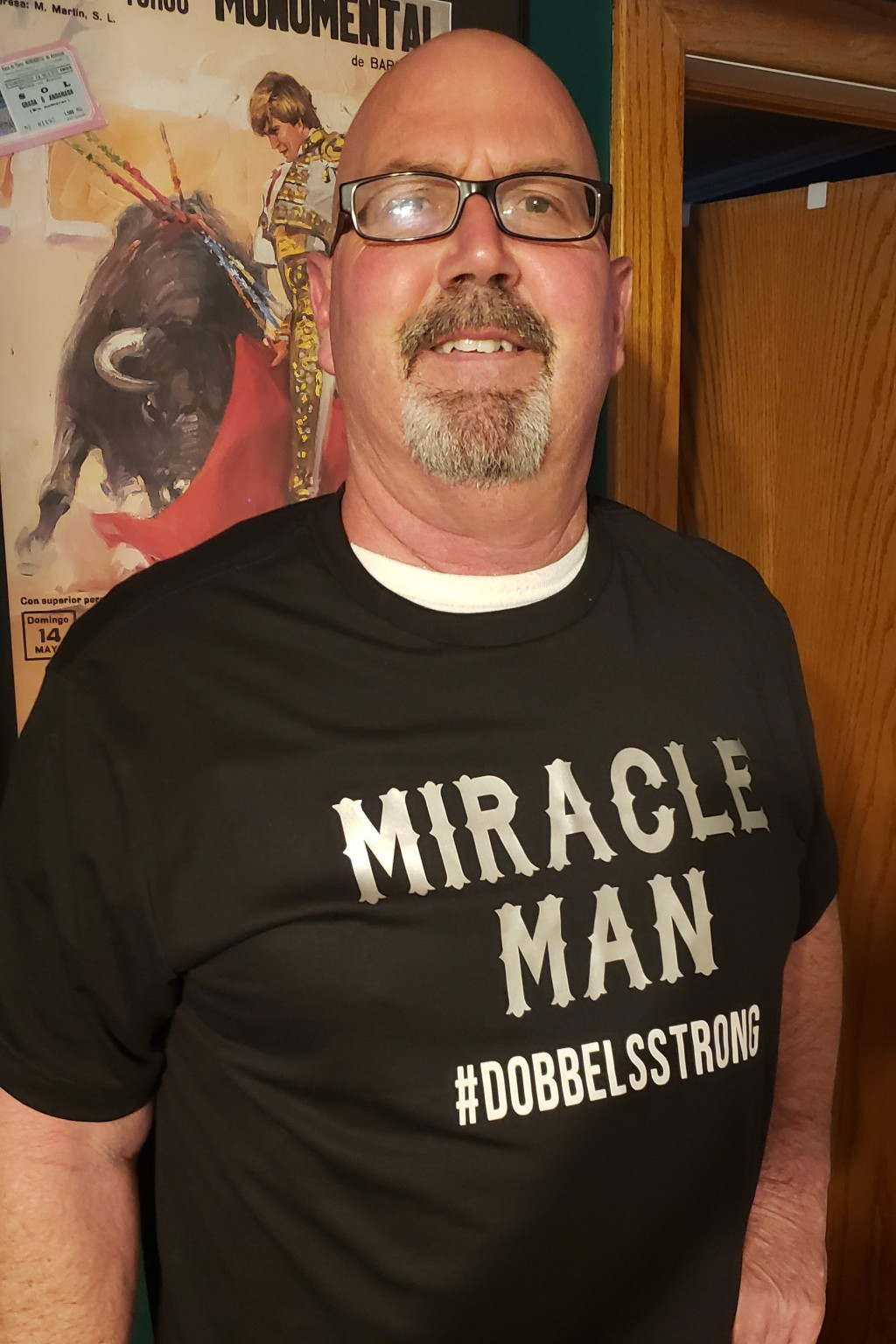 This May 4, 2020 photo provided by Elizabeth Dobbels shows her husband, Scott. Struck by COVID-19, he spent 17 days in the hospital, eight of them on ...