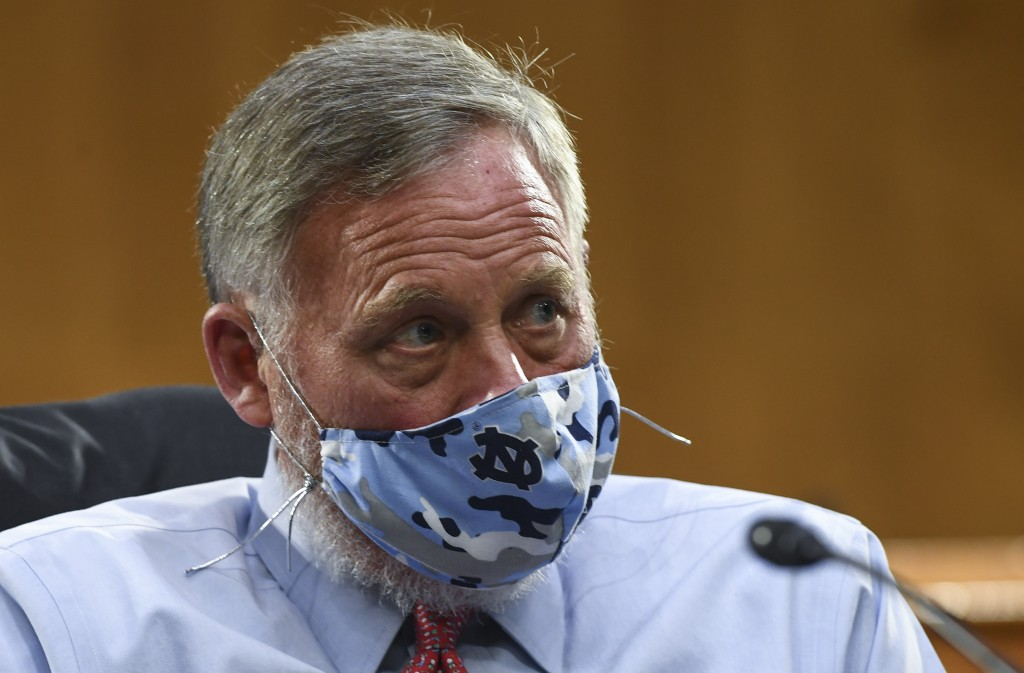 Sen. Richard Burr, R-N.C., listens to testimony before the Senate Committee for Health, Education, Labor, and Pensions hearing, Tuesday, May 12, 2020 ...