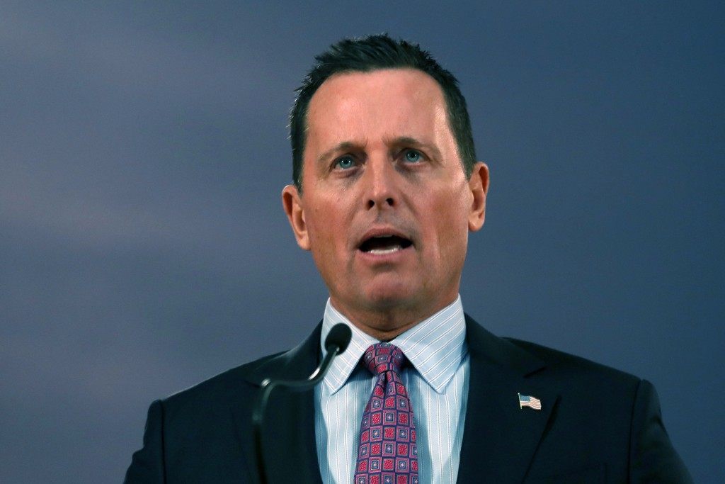 FILE - In this Jan. 24, 2020, file photo, then-U.S. President Donald Trump's envoy for the Kosovo-Serbia dialogue, Ambassador Richard Grenell speaks d...