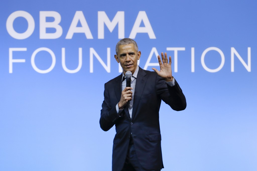 FILE - This Dec. 13, 2019, file photo shows former President Barack Obama speaking at the Gathering of Rising Leaders in the Asia Pacific, organized b...