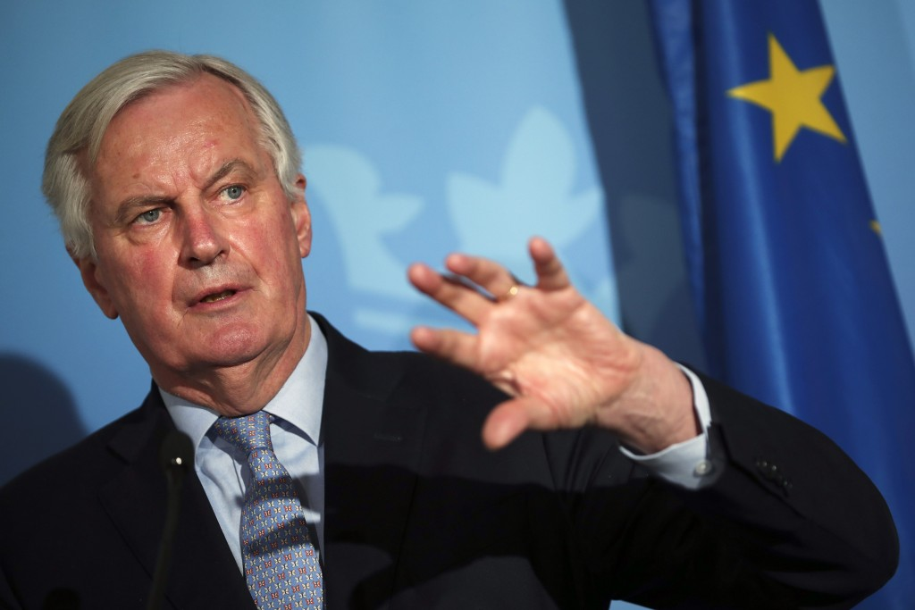 FILE - In this Monday, Feb. 10, 2020 file photo, European Commission's Head of Task Force for Relations with the United Kingdom Michel Barnier speaks ...