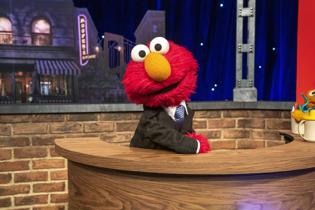 "This image released by Sesame Workshop shows muppet character Elmo, who will host a family friendly show called ""The Not Too Late Show with Elmo."" It ..."