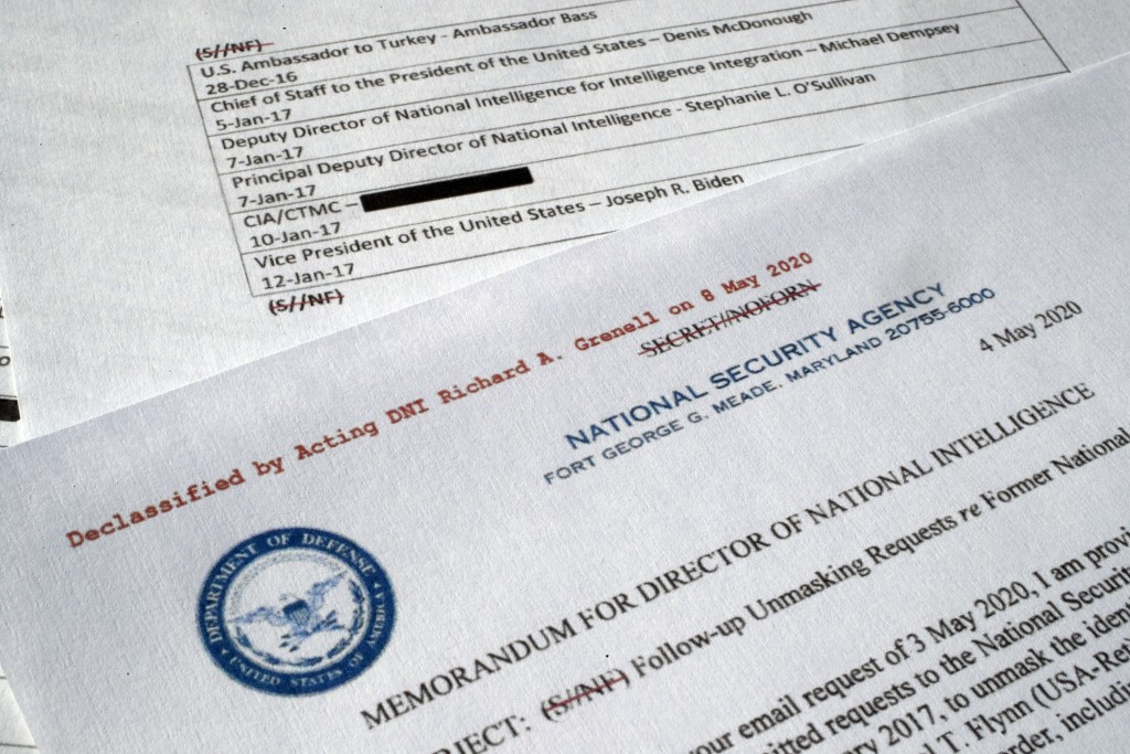 A declassified document with names of President Barack Obama administration officials who made requests for unmasking of Michael Flynn's name is photo...