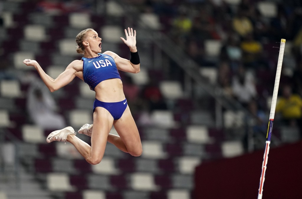 FILE - In this Sept. 29, 2019, file photo, Katie Nageotte, of the United States, competes in the women's pole vault final at the World Athletics Champ...