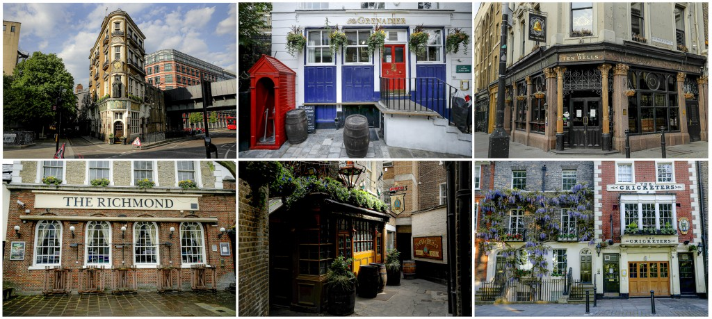 A combo of recent images and filed on Friday May 15, 2020 of pubs that are closed due to the coronavirus pandemic. Britain's 47,000 or so pubs were to...