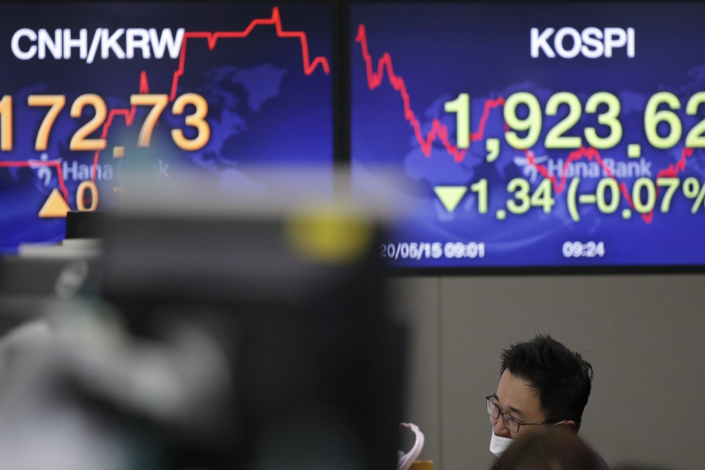 A currency trader talks on phone near screens showing the Korea Composite Stock Price Index (KOSPI), right, and the foreign exchange rate at the forei...