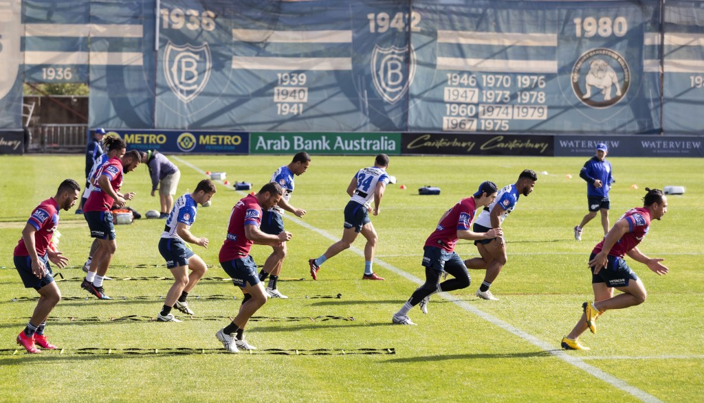 Bulldogs' players of the National Rugby League train in Sydney Friday, May 15, 2020. The National Rugby League will restart its interrupted season on ...