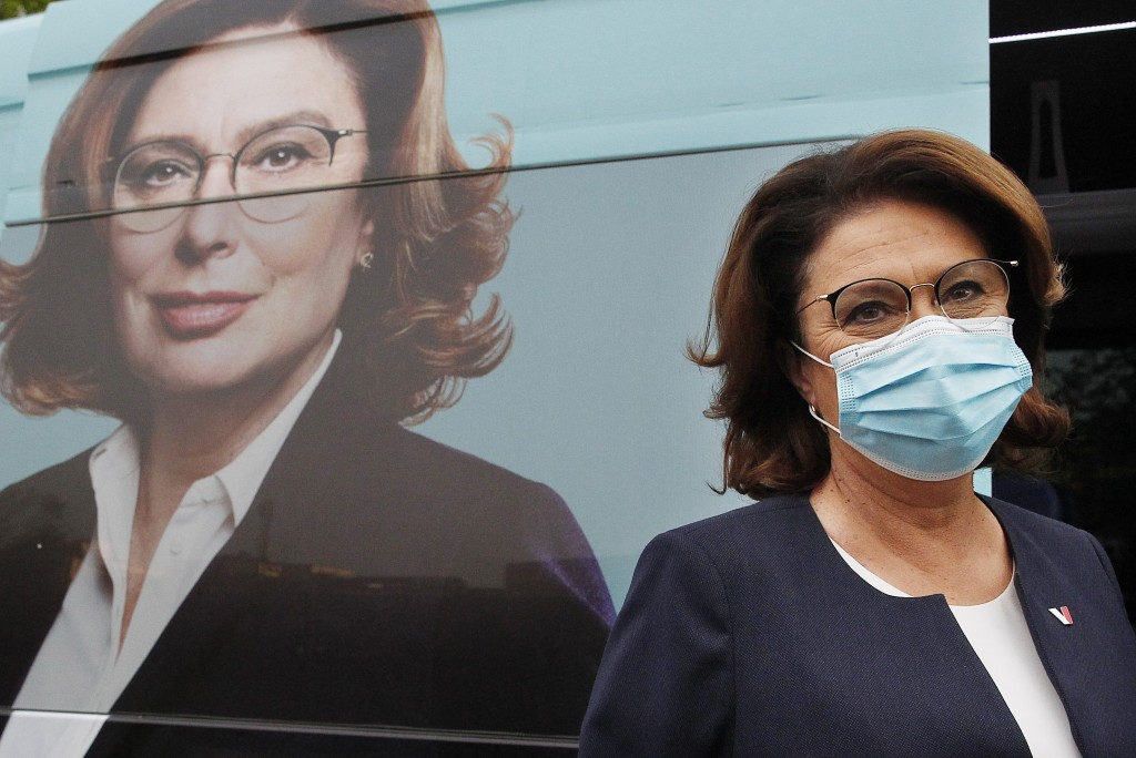 An opposition candidate in Poland's presidential election, Malgorzata Kidawa-Blonska, wearing a face mask to prevent the spread of coronavirus, arrive...