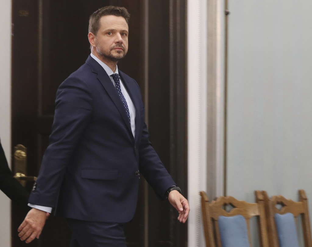 New candidate in Poland's presidential election for the opposition Civic Coalition, Warsaw Mayor Rafal Trzaskowski talks to reporters in Warsaw, Polan...