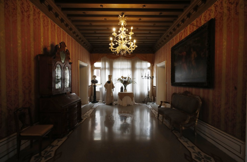 This picture taken on Wednesday, May 13, 2020 shows an empty hall of the Ca' Nigra lagoon resort hotel along the canal grande in Venice, Italy. The ho...