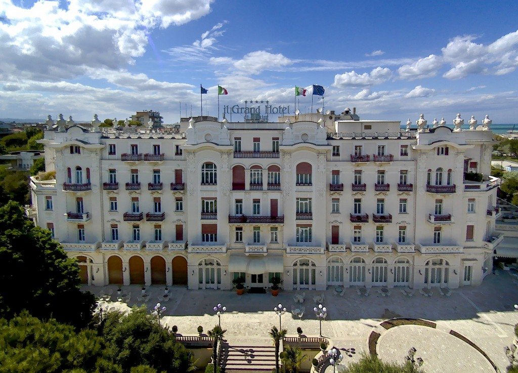 This Monday, May 11, 2020 photo shows the Rimini Grand Hotel, in Rimini, Italy. The luxury Liberty-style hotel, where carnivalesque Italian director F...