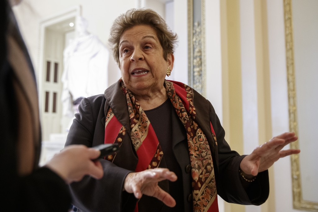 FILE - In this March 12, 2020, file photo Rep. Donna Shalala, D-Fla., speaks to media on Capitol Hill in Washington about the coronavirus outbreak. Fo...
