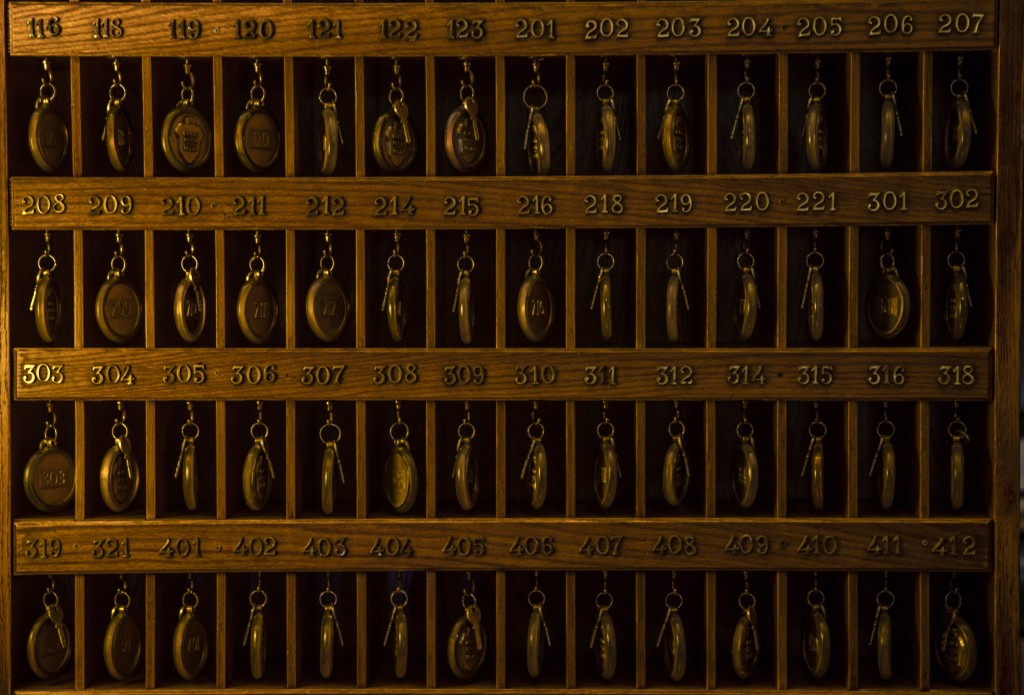 This Thursday, May 14, 2020 picture shows room keys hanging on a wooden board, at the Grand Hotel Et De Milan, where 19th century composer Giuseppe Ve...