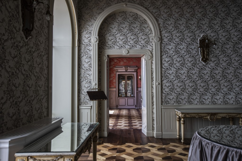 This picture taken on Thursday, May 14, 2020, shows an empty restaurant hallway of the historical Grand Hotel Tremezzo, in Tremezzo, on Como Lake, Ita...