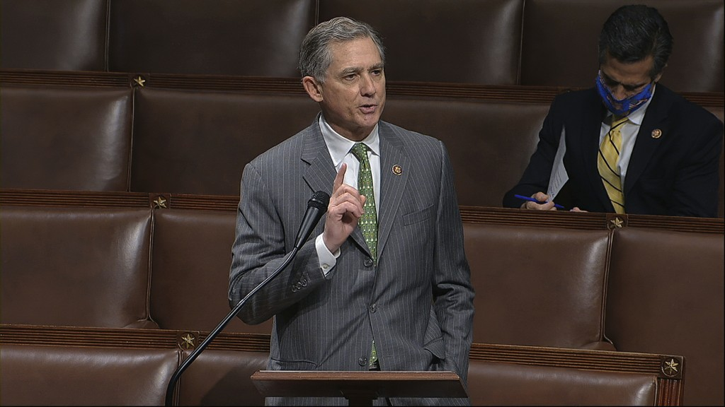 FILE - In this April 23, 2020, file image from video, Rep. French Hill, R-Ark., speaks on the floor of the House of Representatives at the U.S. Capito...