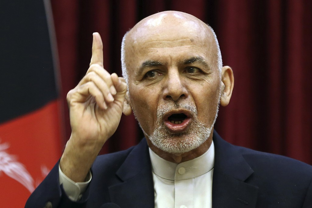 FILE - In this March, 1, 2020 file photo, Afghan President Ashraf Ghani speaks during a news conference at the presidential palace in Kabul, Afghanist...