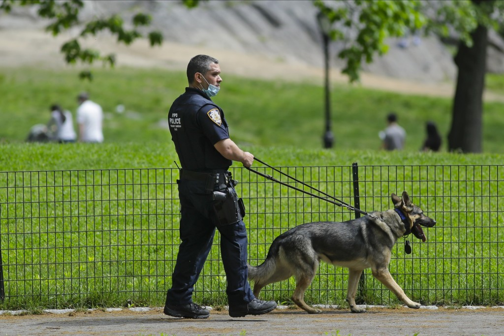 A New York Police Officer patrols Central Park during the coronavirus pandemic Saturday, May 16, 2020, in New York. (AP Photo/Frank Franklin II)