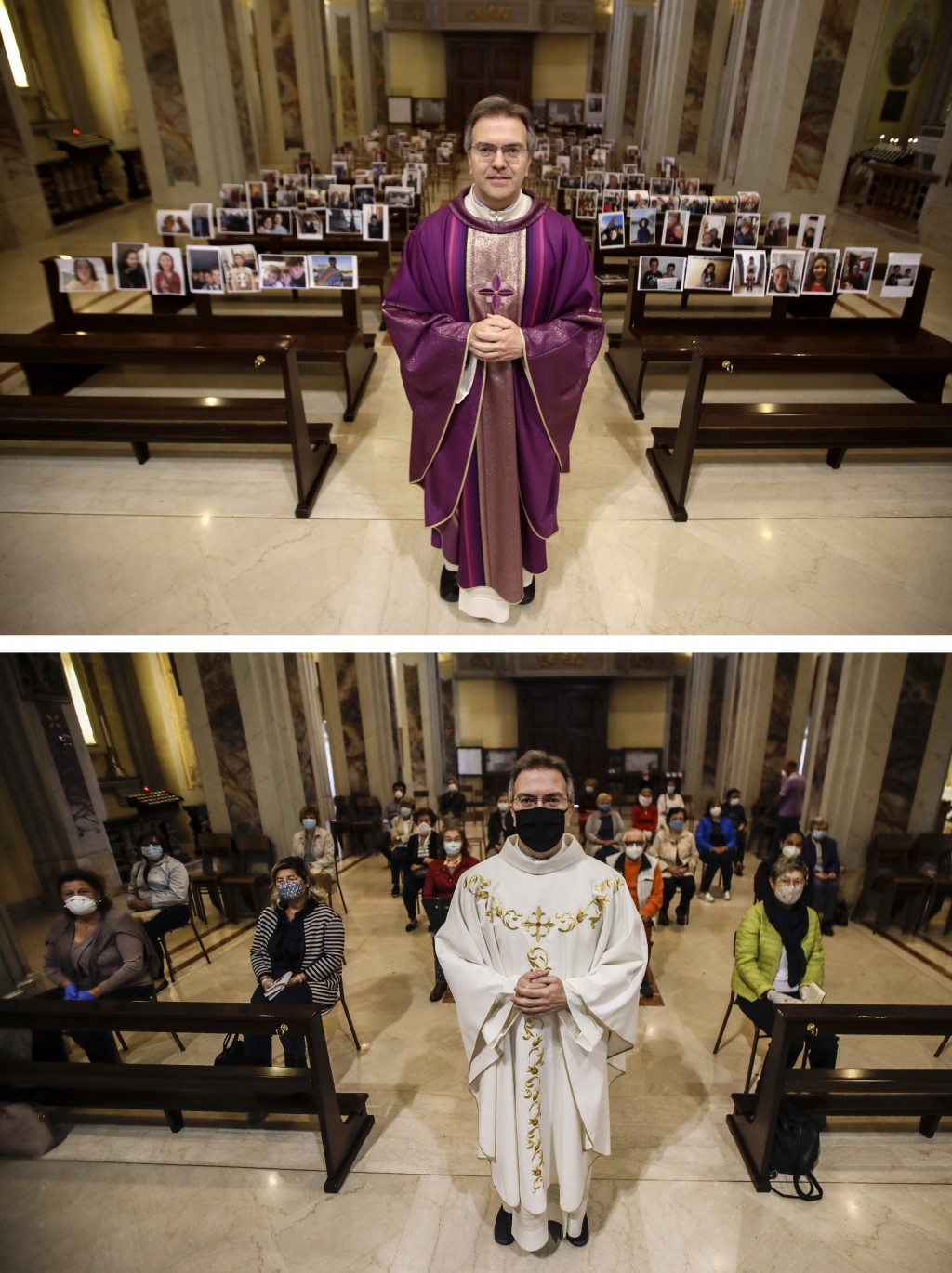 In this combo picture, at top, Robbiano Church parson, Don Giuseppe Corbari, poses in front of selfies he was sent by parishioners as Masses had been ...